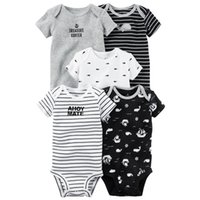 Wholesale baby winter body suit for sale - Group buy Short Sleeve Print Bodysuit For Baby Boys Girls Outfit Summer Clothes Newborn Body Suit Costume set New Born Clothing J190514