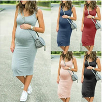Wholesale modern dresses for pregnant women resale online - Maternity Dresses Spring Women s New Maternal Dress Round necked Elastic Waist Skirt Tight elastic T shirt for pregnant women