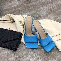 salto quadrado feminino venda por atacado-Mulheres designer de chinelos sonho napa Toe quadrado sandália sandálias de estiramento senhoras de luxo casuais chinelos de designer mulher de casamento de salto alto