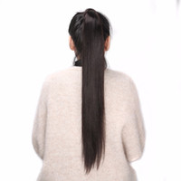 Wholesale brazilian remy ponytail resale online - BHF Human Hair Ponytail Brazilian Remy Ponytail Wrap Around Horsetail g g g Hairpieces Natural Straight Tails