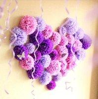 bolas de flores 15cm venda por atacado-Novo Design 30pcs 15 centímetros 20 centímetros 25 centímetros Mix cor do tecido fornece papel Pompon Poms Flor Balls casamento Decoração Artesanato partido