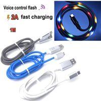 flash-usb-kabel geführt großhandel-Neue USB-Kabel Lautstärkeregler 2A Schnellladung LED-Licht Flash Dancing Data Sync Ladetyp c Kabel für LG HUAWEI PHONE CABLE.