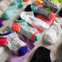 Wholesale polyester cotton sports socks online - Women Ankle Socks UA Under Sports Sock Slippers Girls Low cut Anklet Brand Skateboard Ship Socks Sexy Hosiery Summer Short Stockings Mix