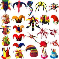 Wholesale kids party clowns online - Kids Adults Carnival Party Hats Clown Halloween cosplay Football Beer Hats Novelty Christmas Cap Performance Props Party Costume Purim Props