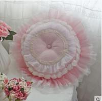 vestido de noiva de fantasia de renda venda por atacado-Fantasia cor vestido de renda do casamento de Rosa Flor redonda Pillow / Almofada