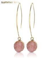 ingrosso orecchini di rosa placcati oro rosa-Unico design rotondo ciondolo in resina placcatura in oro gancio ciondola orecchino per le donne ragazze moda grigio rosa nero bianco orecchino gioielli goccia regalo