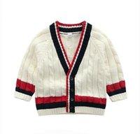 ingrosso maglioni bianche-INS maglione per bambini bebè cardigan con bottoni maglione colore bianco 100% cotone Boutique Boy girl maglione primavera autunno B11