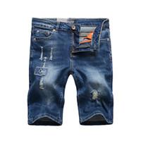 blue jean shorts for men toptan satış-Yaz Ince Delik erkek Kot Şort Koyu Mavi Yüksek Erkekler Tasarımcı Kot Streç Slim Fit Diz Boyu Pantolon erkek Rahat Düz Kısa Kot