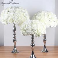 düğün merkezkaçları için ipek çiçek topları toptan satış-İpek Yapay Centerpieces Topu Diy Çiçek Başları Her Türlü Düğün Dekor Duvar Mağaza Pencere Masa Aksesuarla 4 Boyutları Q190522
