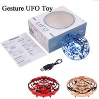 Wholesale Induction UFO Gesture Toy Beginner Flying Aircraft Hand Operated Auto Booted Drone Kids Toy with LED Light Night Mode