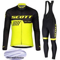 ingrosso bicicletta scott piena-2019 Winter Men SCOTT Cycling Jersey Set completo Zipper manica lunga Outdoor Bike Shirts Bib Pants Suit termico in pile abbigliamento da corsa F60371