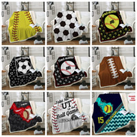 ingrosso letti singoli-Baseball Blankets 150*130cm Softball Soccer Football Blanket 3D Printed Swaddling Towel Sports Carpet Sofa Bedding Sheet Quilt GGA1851