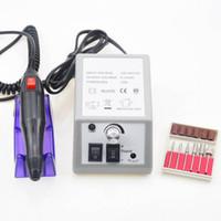 elektrische feilenstiftnägel großhandel-Nagellack-elektrischer Nagel-Bohrgerät-Maniküre-Satz-Datei-grauer Nagel-Stift-Maschinen-Satz-Installationssatz mit EU-Stecker Freies Verschiffen
