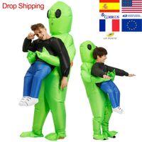 adultos inflables disfraces de halloween al por mayor-Traje de mascota inflable ET-Alien Scary Green Alien Costume para adultos Fiesta de Halloween Festival Stage Pick Me Up
