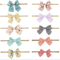 Wholesale making hair bows ribbon resale online - 10 Style Handcrafted Headband Boutique Hair Bow Hair Accessories for Baby Girls Hand Made Fabric Head Band With Flowers