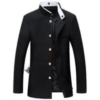 pecho japonés al por mayor-2019 nuevos hombres negro chaqueta de túnica delgada chaqueta de un solo pecho uniforme escolar japonés abrigo universitario