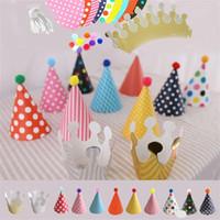 sombrero decoración de cabello al por mayor-Fiesta creativa Sombreros Decoración Bola de pelo Niños Corona Trigonométrica de Dibujos Animados DIY Feliz Cumpleaños Niños 3 8qp f1