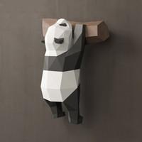 ingrosso modelli a mano-3D panda geometrico ornamenti decorazione della parete creativo carino divertente tesoro nazionale modello di carta fatto a mano fai da te creativo casa del fumetto ins