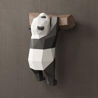 lustige pandas großhandel-Dekorativer Wandschmuck der geometrischen Panda 3D verziert kreative nette lustige nationale Schatzpapiermodell handgemachte DIY kreative Hauptkarikatur