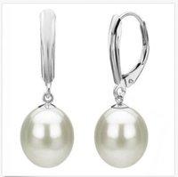 jolis ongles blancs argentés achat en gros de-une paire de boucles d'oreilles en perles naturelles des mers du Sud avec des mers méridionales naturelles 10-12MM