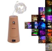 ac led lambalar toptan satış-Sıcak 1 M 10LED 2 M 20LED Lamba Mantar Şekilli Şişe Stoper Işık Cam Şarap Noel Partisi Için LED Bakır Tel Dize Işıkları düğün