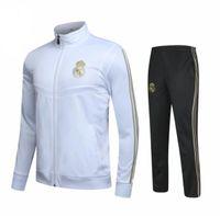 impressão real de madrid venda por atacado-2019 Real Madrid Fato de treino de jaqueta de futebol 1920 RONALDO de pé JAMES BALE ISCO Fato de treino de jaqueta fina M-3XL logotipo impresso