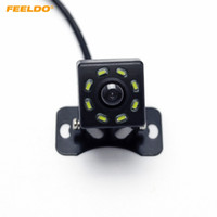 câmera traseira conduzida venda por atacado-FEELDO DC12V Universal Car Rear View Camera Com 8-LED Auto Invertendo Backup Camera # 5121