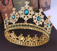 vestido de novia rhinestone lleno al por mayor-Lujo Crown Princess Queen Tiara Full Round Crown Wedding Nupcial Accesorios para el cabello Crystal Rhinestone Party Jewelry Headpiece Ornament Dress