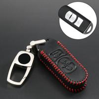 mazda anahtar davaları toptan satış-1 adet x Deri Mazda 3 Düğme Için Uzaktan Araba Anahtarı Koruyucu Kılıf Akıllı Uzaktan