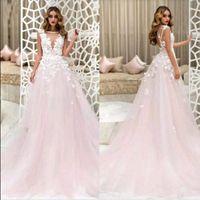Wholesale blush wedding dresses resale online - Blush Pink Wedding Dresses A Line Sheer V Neck D Foral Flowers Long Bridal Gowns Custom Size Beach Summer Wedding Gowns Plus Size