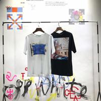ingrosso disegni paesaggistici moderni-19ss lussuoso marchio di design OFF T-shirt moderna stampa paesaggio Uomo Donna T-shirt Streetwear Outdoor traspirante
