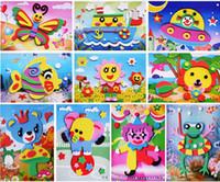animales de espuma 3d al por mayor-Etiqueta engomada de la espuma de EVA 3D Juego de rompecabezas DIY Animal de la historieta que aprende los juguetes de la educación para los niños de los niños Multi-patrones Estilos al azar envían Y