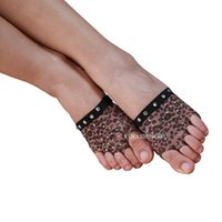 Wholesale Belly Dance Foot thong Toe Pad Belly Dance Accessories Leopard Sequins Heel Protector Professional Ballet Socks Pair