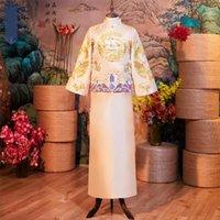 ingrosso gli abiti da sera degli uomini-Abito di Champagne Dragon Embroidery Costume Vintage Button Chinese Cheongsam Toast Abbigliamento classico Noble Royal Evening Party Gown
