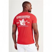 hommes rouges t shirts achat en gros de-Vrai mens designer t shirts rouge blanc noir bleu Tee vêtements de luxe d'été hommes mode t-shirt hommes top qualité 100% coton tees taille