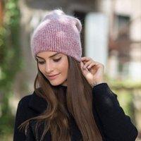kaşmir tavşan kürkü toptan satış-Kadınlar Cap Kış Sonbahar Tavşan Kürk Bayanlar Katı Beanies Bonnet için Kadınlar Kış Şapka Örme Beanie Hat Cashmere Örgü Şapka