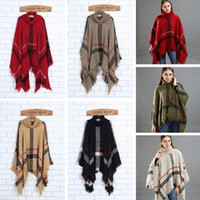 Wholesale vintage cloaks for sale - Group buy Fashion Woman Plaid Cloak Lady Grid Poncho Sweater Wraps Vintage Shawl Cardigan Tassel Knit Scarves Tartan Winter Blankets TTA1548