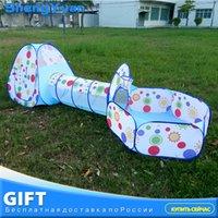 tentes tubulaires achat en gros de-3pcs / set bébé pliable piscine-tube-tipi jouet tentes 3 couleurs Pop-up Play tente jouet enfants tunnel jouer maison balles piscines SH190907