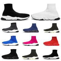 frauen schwarze socken großhandel-2020 sock Designer Socken Schuhe dreifach schwarz weiß Männer Frauen Mode Turnschuhe glitzern gelb blau rosa Mode Herren Trainer Läufer Plateauschuh