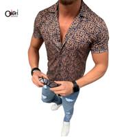 camisa aberta do peito venda por atacado-Shirt dos homens Osunlin Casual manga curta Único Breasted Shirts Male lapela Floral Imprimir Abra Ponto soltos Shirts Camisa Masculina T190918