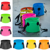 Wholesale baked bottle resale online - 7Colors Fishing Bucket L Waterproof Storage Portable Folding Outdoor Bucket For Camping Fishing Hiking Durable Container Buckets