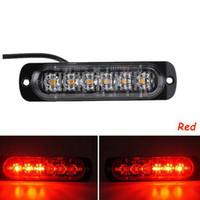ingrosso flash strobo ambra-2x luci stroboscopiche LED ultrasottili auto camion moto 6 LED 18W ambra lampeggiante emergenza avvertimento lampada di pericolo DC12V 24V EEA123
