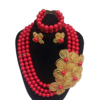 свадебные золотые украшения для невест оптовых-Dudo Imitation Red Coral  Jewelry Set With Gold Beaded Flowers For African Traditional Wedding Bride 3 Rows 18.8 Inches New