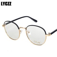 marcos de gafas unisex de metal redondo al por mayor-LYCZZ Marco de gafas redondas grandes de metal Unisex Gafas graduadas Lente transparente Computadora Óptica vintage Gafas Miopía Gafas