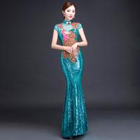 Wholesale lace qipao wedding dress resale online - Bride Cheongsam Long Modern Qipao Lace Sexy Green Chinese Oriental Style Dresses Traditional Wedding Dress Women Fashion S XL