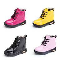 Wholesale winter lace up boots korean for sale - Group buy Kids Winter Shoes PU waterproof Baby Matin Boots Fashion Korean version children Boots colors C67