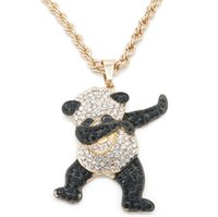Wholesale pandas diamond resale online - European and American fashion personality hip hop fashion jewelry men s Necklace long twist chain alloy Cute Panda boutique Pendant