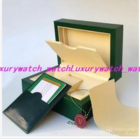 Wholesale original watch boxes for sale resale online - 2019 Mens Wristwatch Box Original Box Green Boxes Papers For Watches Booklet Card in English Gift For Man Men Women Sale