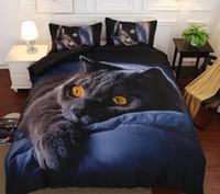 ingrosso gatto piumone-Set biancheria da letto in 3D Set di copripiumino in cotone stampa gatto nero Set di lenzuola realistiche con copriletto Federa Tessili per la casa