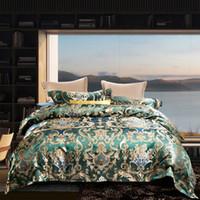 juego de edredón de cama queen verde al por mayor-Green Luxury 60S Euro Floral Jacquard Juegos de cama Sábanas de algodón egipcio 4pcs Juego de ropa de cama Juego de cama Queen King Size Edredón cama doble
